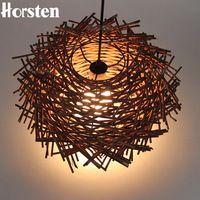 Bine Horsten Art Deco Led Hecho A Mano Colgante de Madera Clara Luces colgantes Nido de Pájaro Lámpara Colgante Jaula Para Restauran Casa ornamento