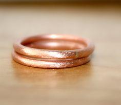 Handgemachte reines Kupfer Ringe Brush Finish Runde von EilaBelle