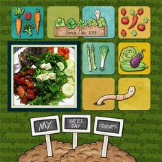 Vegetable Patch & Farmer's Garden - All About Scrapbook Designs, Scrapbook Pages, Scrapbook Layouts, Plant Markers, Growing Plants, Garden Plants, Digital Scrapbooking, Overlays, Patches