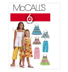 McCalls 5796, Children's and Girls' Tops, Dresses and Capri Pants, , 6 Great Looks, One Easy Pattern, New Uncut Size 7-8-10-12-14 by ucanmakethis on Etsy https://www.etsy.com/listing/262456668/mccalls-5796-childrens-and-girls-tops