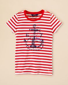 Ralph Lauren Childrenswear Girls' Stripe Graphic Tee - Sizes S-xl