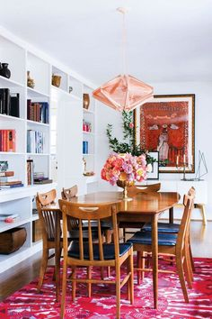 Red and White and Wood Dining room