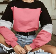 2018 Winter Crop Tops Streetwear Bts Women Hoodies Colorblock Sweatshirt Long Sleeve Hoodie Sweat Femme Harajuku pink S Grunge Style, Mode Grunge, Cute Casual Outfits, Retro Outfits, 80s Style Outfits, 80s Inspired Outfits, Cute Vintage Outfits, Rock Outfits, Hipster Outfits