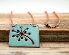 Dandelion  custom color enamel pendant necklace on basemetal chain.