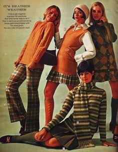 Sears 1970 plaids stripes Cay Sanderson, Colleen Corby, Sally Gates and Dayle Haddon. Seventies Fashion, 60s And 70s Fashion, Teen Fashion, Retro Fashion, Fashion Models, Vintage Fashion, Fashion Hacks, Petite Fashion, Fashion Tips