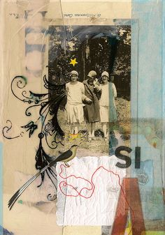 Vintage photo, tape transfers + transparency, gesso, tissue and string on paper. 5 x 7 inches.