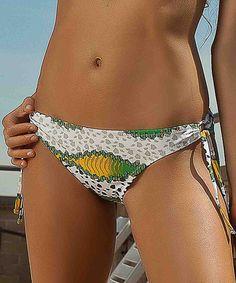 This Orange & Yellow Love Stones Side-Tie Bikini Bottoms is perfect! #zulilyfinds