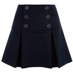 Red Valentino Nautical Button Mini Skirt (6.218.035 VND) ❤ liked on Polyvore featuring skirts, mini skirts, bottoms, saias, hameet, navy mini skirt, blue skirt, navy blue skirts, navy skirts and structured skirt