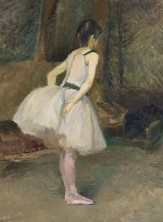 Henri de Toulouse-Lautrec Danseuse, bears signature, oil on canvas 31 x 23 ½ in. Painted in 1888 Henri De Toulouse Lautrec, Edgar Degas, Rockefeller Center, Impressionist Art, Famous Art, New York, French Art, Art Auction, Artist Art