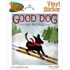 Good Dog Ski Patrol Black Lab Vinyl Sticker Vintage Style Laptop Bumper
