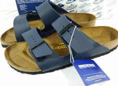 Birkinstock Arizona Navy Sandals M7 W9 EU 40 Buckles Leather NIB NWT Cork Shoes #Birkenstock #Arizona