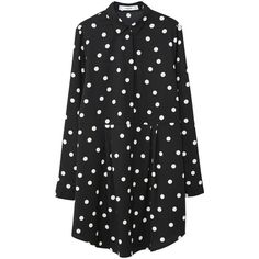 Polka-Dot Dress (160 RON) ❤ liked on Polyvore featuring dresses, polka dot print dress, spotty dress, polka dot collar dress, dot dress and collared dresses