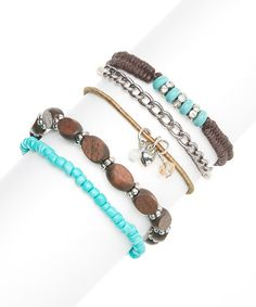 Take+a+look+at+the+Turquoise+&+Brown+Arm+Party+Bracelet+Set+on+#zulily+today!