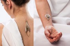 Jewelry That Harvests Energy From Your Veins. Theoretically the pieces extract energy from the wearers own body. The 'speculative' jewelry is embedded into the person's veins and uses their blood to turn small wheels inside the device. Eew........