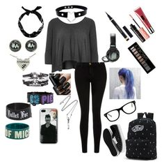 """""""School Outfit 09"""" by fallenangel182 on Polyvore featuring Benefit, River Island, Vivienne Westwood, Current/Elliott, Vans, Clinique, New Look, Forever 21, Yves Saint Laurent and Muse"""