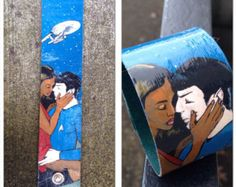 Modern Spock and Uhura in love - hand-painted Star Trek cuff
