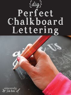 Perfect Chalkboard Lettering Chalkboard Art: Easy tutorial on how to get perfect lettering every time!Chalkboard Art: Easy tutorial on how to get perfect lettering every time! Chalkboard Lettering, Chalkboard Designs, Chalkboard Paint, Chalkboard Ideas, Chalkboard Writing, Chalkboard Drawings, Lettering Art, Chalkboard Art Tutorial, Chalkboard Art Kitchen