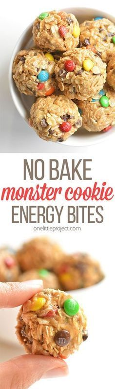 These no bake monster cookie energy balls are so easy to make and they taste DEL.,Healthy, Many of these healthy H E A L T H Y . These no bake monster cookie energy balls are so easy to make and they taste DELICIOUS! They& a perfect af. Healthy Cookies, Healthy Treats, Healthy Desserts, Healthy Recipes, Protein Cookies, Protein Recipes, Cookies Vegan, Easy Desserts, Yummy Treats