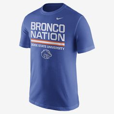 REPRESENT YOUR TEAM The Nike Local Verbiage (Boise State) Men's T-Shirt celebrates your favorite school with a local team statement on soft, comfortable cotton. Product Details Rib crew neck with interior taping Fabric: 100% cotton Machine wash Imported