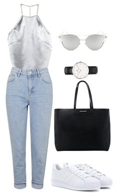 """111"" by desireair on Polyvore featuring H&M, Topshop, adidas Originals, Chicnova Fashion, Daniel Wellington and MANGO"