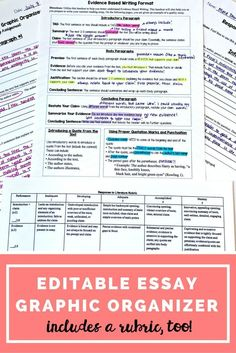 Argumentative Essay Graphic Organizer Editable  Art Classroom  Argumentative Essay Graphic Organizer Editable