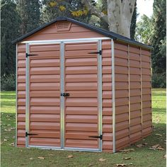 Palram Plastic Sheds for sale in brown, grey or green, complete with built in floor and skylight roof for your garden. Free UK delivery, buy online now! Corner Summer House, Summer Houses, Sheds Direct, Garden Bar Shed, Buy Shed, Apex Shed, Shiplap Cladding, Apex Roof, Shed Base