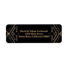 Elegant Art Deco Gatsby Wedding Return Address Label - return address gifts label labels cards diy cyo