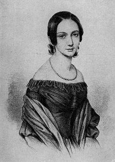 Clara Schumann (1819-1896), geborene Wieck, war die Ehefrau des Komponisten Robert Schumann. Sie galt schon früh als Wunderkind am Klavier und wurde später selbst als Komponistin tätig. Ihr Bild war auf dem 100-DM-Schein zu sehen, welches auf dieser Lithografie aus dem Jahre 1838 basiert.