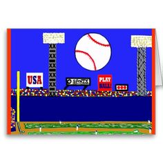 New Fun Baseball Happy Birthday Card & Invitation