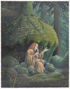 """Harald Nordberg, 2006. Der satt den gamle kjerringa igjen og spant på håndteinen sin og ropte til Askeladden: -Kom hit, kom hit, min vene sønn, skal jeg lyske deg! Til """"De syv folene"""" i Den store Asbjørnsen og Moe boka. Oslo: Aschehoug, 2006"""