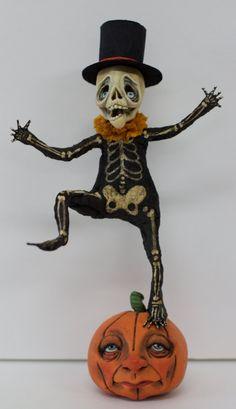 OOAK Sculpted Skelly and Friend Skeleton Pumpkin by primdolly