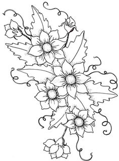 Embroidery Flower Patterns This is a good pattern for beginning needle/thread painting Embroidery Designs, Hand Embroidery Patterns, Cross Stitch Embroidery, Ribbon Embroidery, Painting Patterns, Craft Patterns, Flower Patterns, Thread Painting, Fabric Painting