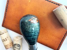 This one of a kind hand turned bottle stopper is made from dye stabilized maple wood with stainless steel hardware Bottle Stoppers, Houston, Hardware, Stainless Steel, Wood, Design, Woodwind Instrument, Timber Wood