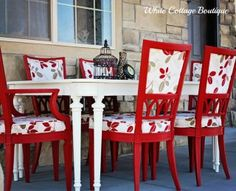Before and After – Red and White Dining Set
