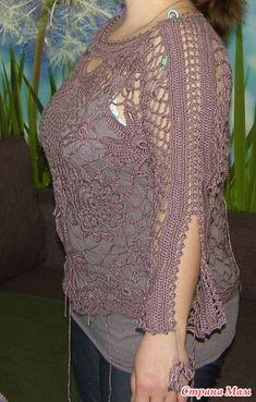 """Ажурная кофточка """" Осенняя пора.. очей очарованье!"""" - Вяжем вместе он-лайн - Страна Мам Vanessa Montoro, Crochet Clothes, Crafts, Inspiration, Shirts, Crochet Batwing Tops, Home, White Tunic, Ponchos"""
