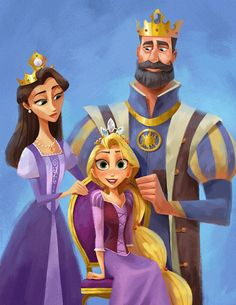 Rapunzel with her parents - tangled - rapunzel - disney - princess Disney Rapunzel, Disney Pixar, Rapunzel Flynn, Princess Rapunzel, Disney Animation, Disney And Dreamworks, Disney Movies, Disney Characters, Disney Wiki