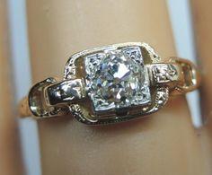 Antique Diamond Engagement Ring 18K White Gold Ring Size 5.75 EGL USA Art Deco #Ring