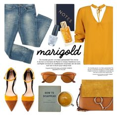 """Stay Golden: Dressing in Marigold"" by helenevlacho ❤ liked on Polyvore featuring Boohoo, Mossimo, Gianvito Rossi, RetroSuperFuture, Chloé, StudioSarah, Lancôme, OPI, contestentry and marigold"