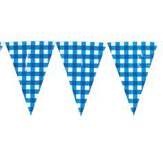 Large Blue Gingham Pennant Banner - OrientalTrading.com. 24' line!