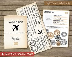 Instant Download- Vintage Boarding Pass Passport Baby shower printable- Boarding pass invitation Kits and Stationery