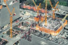 Top View Of An Under Construction Building Site. Civil Engineering, Industrial Development Project, Tower Basement Foundation Infr Stock Image - Image of exterior, floor: 111974235