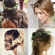 With the hair down, up or with a braid: floral headpieces are always beautiful for daytime weddings!  | www.mysweetengagement.com