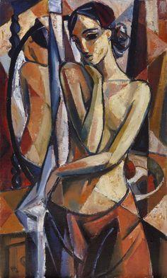 Pensive Nude by Hennie Niemann Jnr. Cubist Art, Abstract Art, Modern Art Paintings, Portrait Art, Cubist Portraits, Arte Pop, Figure Painting, Erotic Art, Figurative Art