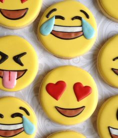 Fun Emoji / Emoticon cookies One Dozen by thesweetesttiers