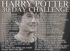 Harry Potter 30 Day Challenge #HarryPotter #challenge