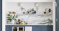5 Gorgeous Wet Bar Ideas to Elevate Your Home Boho Kitchen, Vintage Kitchen, Lily Ann Cabinets, Navy Cabinets, Dark Lounge, 3d Kitchen Design, Distressed Cabinets, Cabinet Inspiration, Kitchen Cabinets In Bathroom