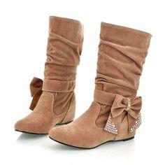 Bow Rhinestone Women Boots Wedges Heels Shoes 7885