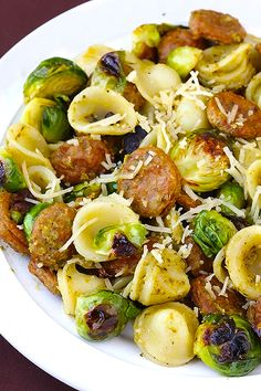 pesto pasta, chicken sausage, brussels sprouts