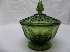 Vtg-Anchor-Hocking-FAIRFIELD-Avocado-Green-Glass-Candy-Dish-w-Lid-Exc-Cond