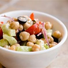 "Greek Garbanzo Bean Salad | ""This is a delightful salad that doesn't skimp on taste."""